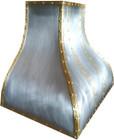 zinc kitchen range hood with brass straps