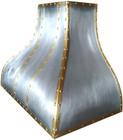 brass zinc range hood detail view