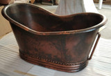 copper bathtub with over flow and rings on sale