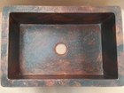 front view of the copper sink hand made in Mexico for a rustic kitchen