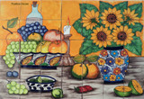 tile mural fruits and flowers