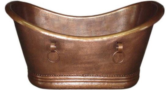 copper bathtub with rings