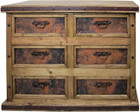 wood copper drawer chest