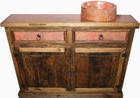 rustic copper bath cabinet