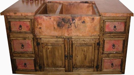 copper kitchen sink cabinet set