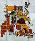 tile mural aztec god