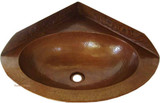 corner copper bathroom sink