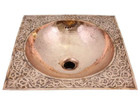 moroccan copper bathroom sink side view