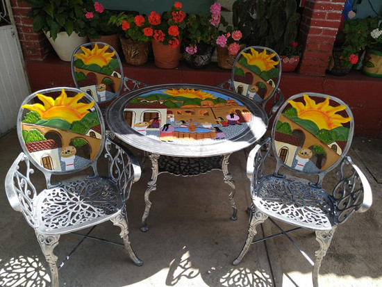 rustic garden dining set Mediterranean
