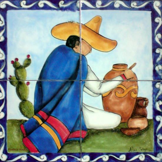 tile mural man with vase