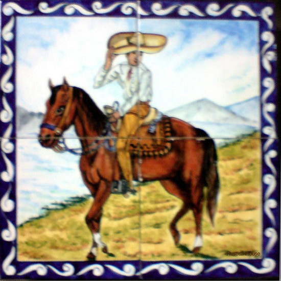 Tile Mural man and his horse