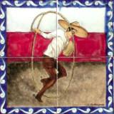tile mural horseman