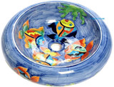 orange blue mexican vessel sink
