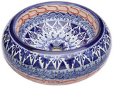 blue terra cotta mexican vessel sink