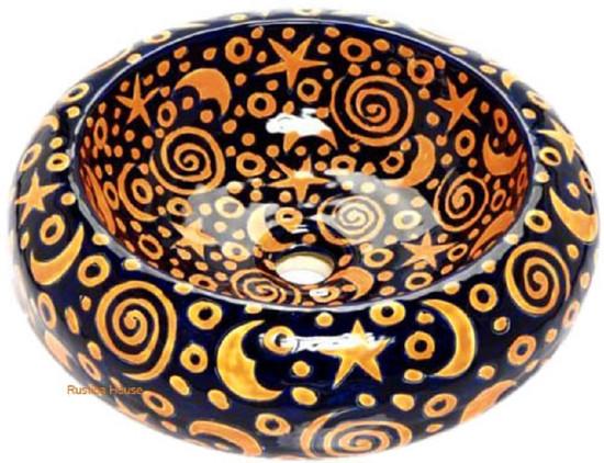 yellow cobalt mexican vessel sink