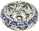 white navy blue mexican vessel sink
