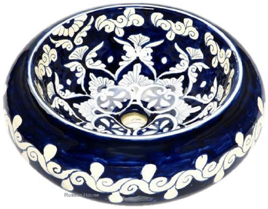dark blue white mexican vessel sink