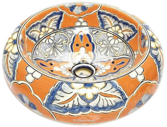 yellow blue mexican vessel sink