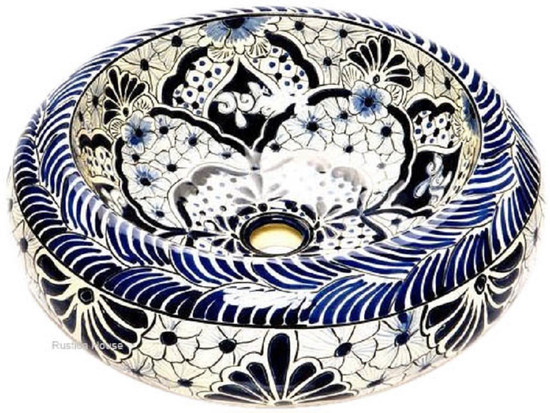 blue white mexican vessel sink