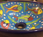 round talavera vessel sink side view