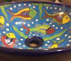 round talavera vessel sink side view