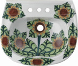 hand painted wall mount bathroom sink