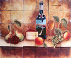 Tile Mural red wine and fruits