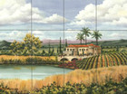 ceramic tile mural lake house