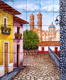 tile mural village