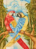 tile mural macaws
