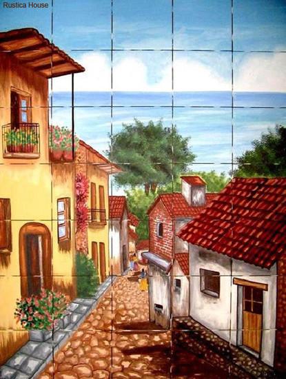 Colonial Village Kitchen backsplash tile mural
