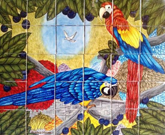 tile mural birds