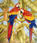 Birds on trees  tile mural