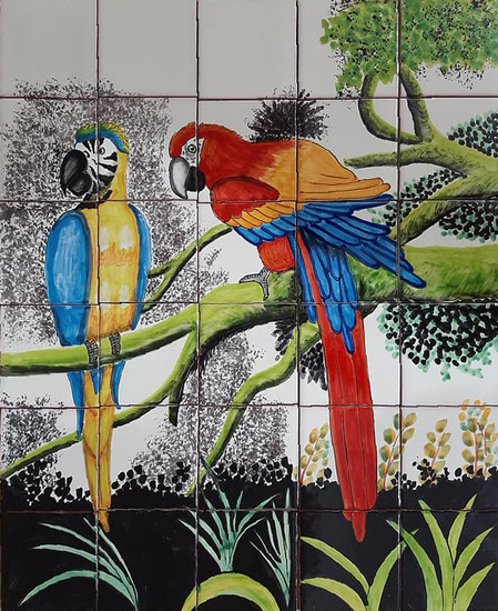 2 macaws Kitchen  tile mural