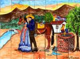 tile mural kissing couple
