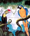 toucan and macaw kitchen backsplash tile mural