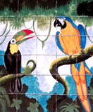 toucan and macaw kitchen backsplash tile mural