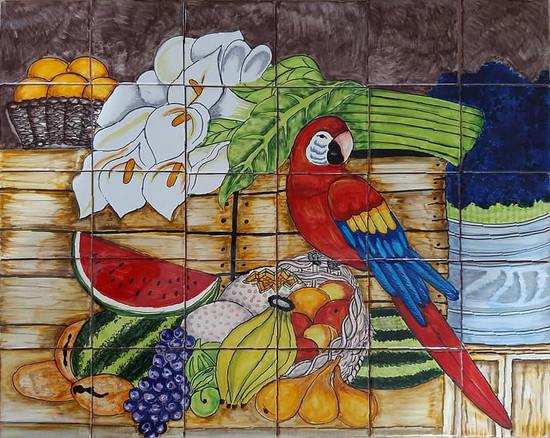 tile mural fruits