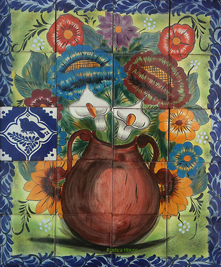 flowers Hand crafted ceramic tile mural