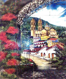 tile mural village on the hill