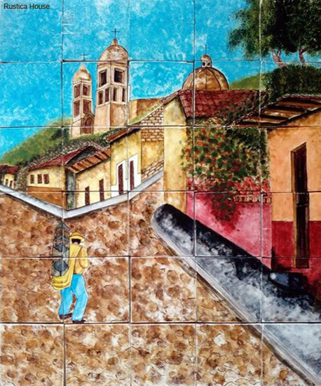 uphill hand crafted ceramic tile mural