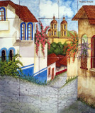 tile mural old town