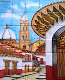 tile mural colonial church