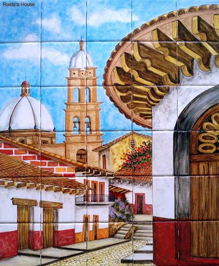 tile mural colonial church