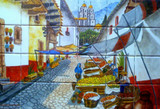 colorful village kitchen tile mural
