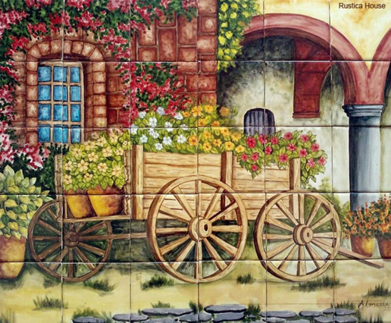 Old wagon kitchen tile mural
