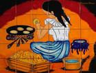 tile mural making tortillas