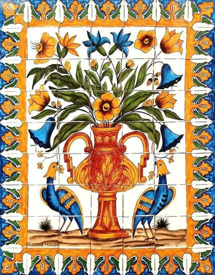 beautiful vase kitchen tile mural