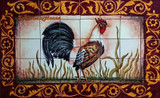 tile mural Rooster