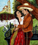 tile mural romance in the village